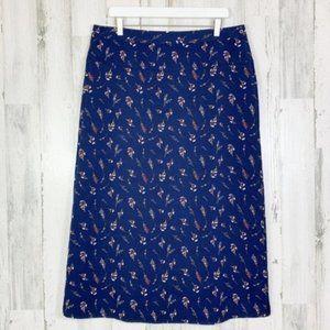 Downeast Navy Dainty Floral Wrap Midi Skirt